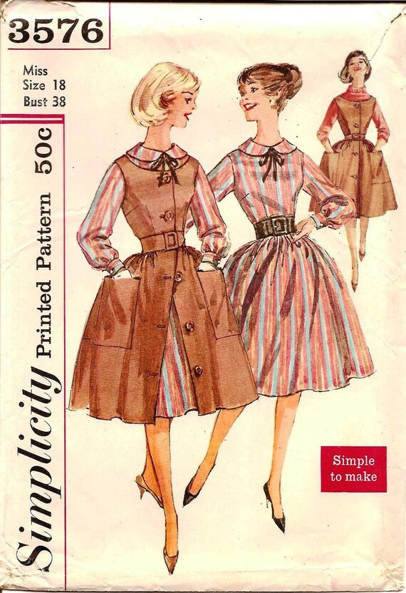 1960s Full Skirt Dress and Jumper - Vintage Sewing Pattern Simplicity 3576 - Size 18 Bust 38 UNCUT