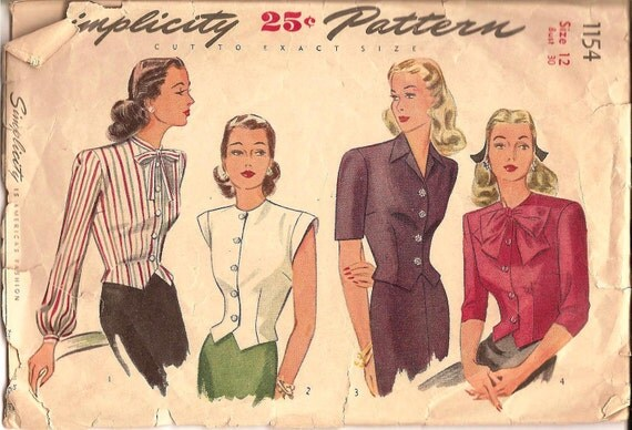 1940s Set of Blouses - Vintage Sewing Pattern Simplicity 1154 - 30 Bust