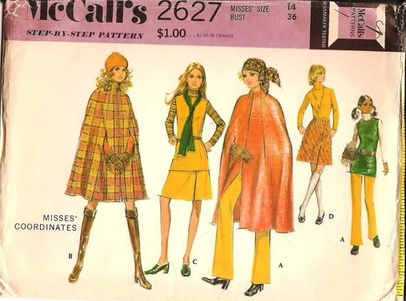 1970s Womens Cape - McCalls 2627 Vintage Pattern - Bust 36 Size 14 UNCUT FF