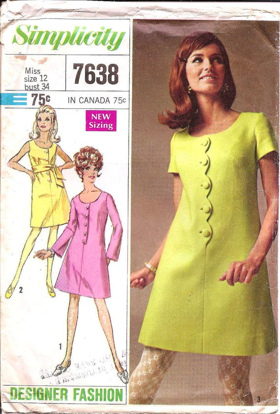 1960s Mini Dress - Vintage Sewing Pattern Simplicity 7638 - 34 Bust