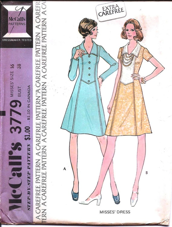 1970s Womens Shaped Seam Dress - Vintage Sewing Pattern McCalls 3779 - 38 Bust UNCUT A Carefree Pattern