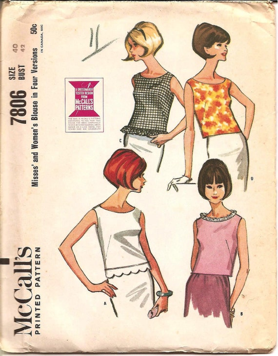 1960s Sleeveless Blouse - Vintage Sewing Pattern McCall's 7806 - 42 Bust