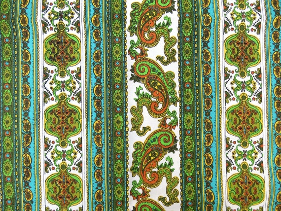 "1960s Groovy Vintage Fabric - Green, Copper and Turquoise Paisley Stripe - Midweight Cotton Primcot Fabrics - 1 yd, 3"" x 45"" wide"