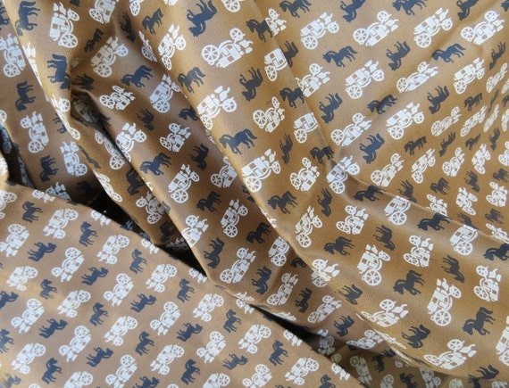 "1940s 1950s Vintage Fabric - Tan Carriage and Black Horse on Brown - Smooth Cotton - 1 1/5 yds x 36"" wide"