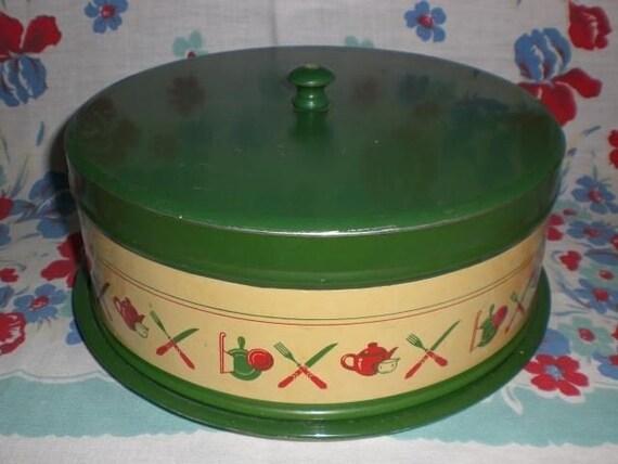 Vintage Green Metal Cake Saver Forks Spoons Teapots