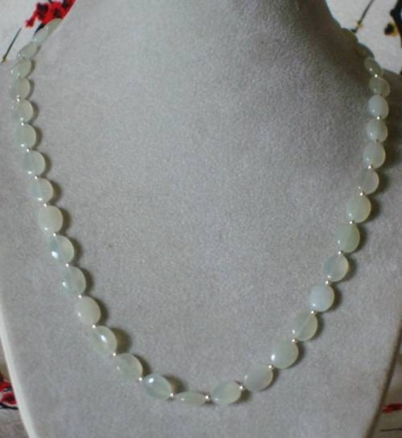 GREEN SERPENTINE  Soo Chow JADE  and Sterling Silver  Necklace