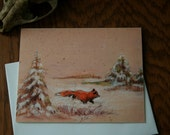 Fox in winter field greeting card