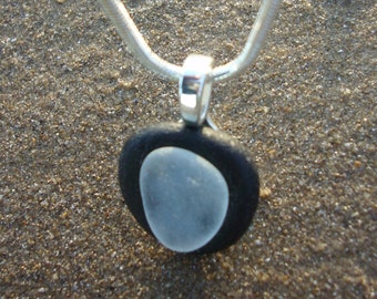 Black and White Seaglass Pendant