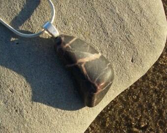 Black and Pink Tumbled Stone Pendant
