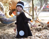 Girls dress, Black and white dress with white polka dots in cotton lycra jersey knit (girls sizes 6, 7, 8, 10)