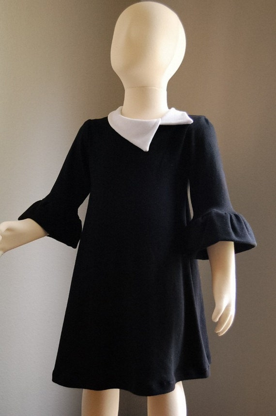 Retro mod black and white stretch knit handmade dress (custom colors available, sizes 12M, 18M, 2T, 3T, 4T, 5T, 6)