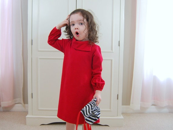 CYBER MONDAY SALE 4T Rich Ruby Red Puff Sleeve Dress Ready To Ship
