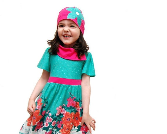 Childrens clothing, dress, Mint and Fuchsia, floral, polka dot, teal, pink, Easter dress, Flower girl, retro children (2T, 3T, 4T, 5)