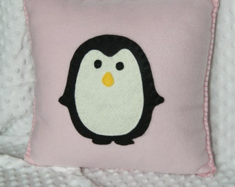 Penguin Pillow - Cute, Cuddly Soft Pink Fleece for boy or girl, birthday gift or decoration. Nursery or home decor.