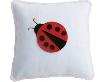 Ladybug Pillow - Cute, Cuddly Soft Fleece for boy or girl, birthday gift or just for fun. Nursery or home decor.