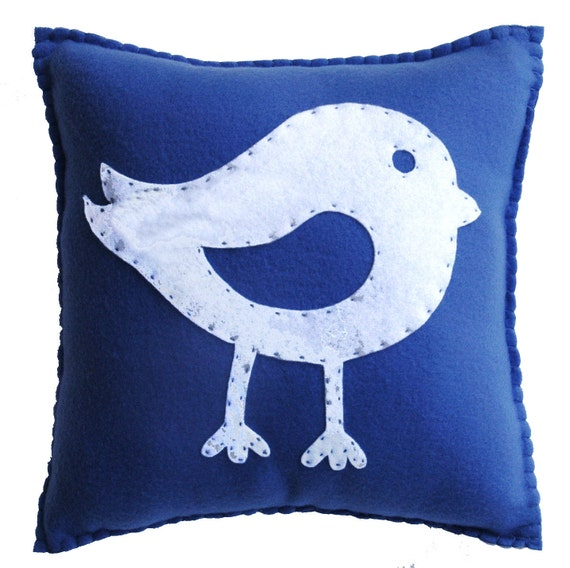Bird Pillow - Cute, Cuddly Soft Fleece for home or nursery decor,  boy or girl, birthday or just because.