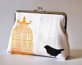 White hemp purse with bird and cage