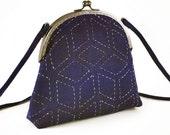 Indigo hemp bag with hand stitched diamonds