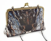 Rock clutch with antique brass frame and chain