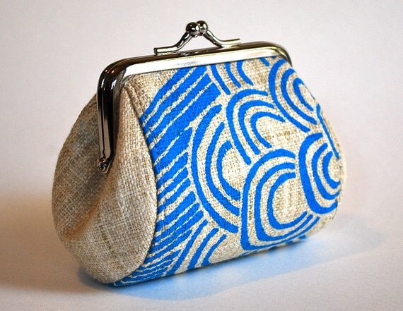 Natural hemp coin purse with blue flower and stripes