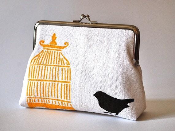 White hemp purse with bird and cage