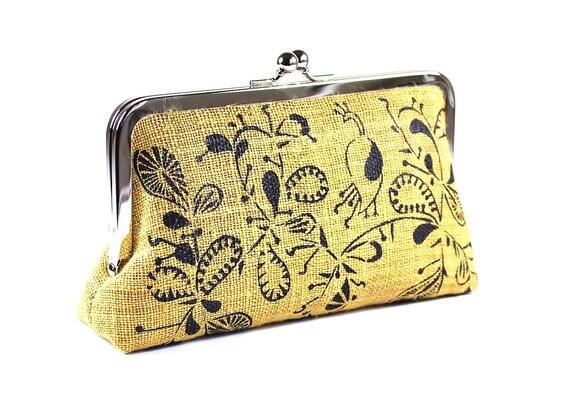 Yellow hemp clutch purse with paisley peacock
