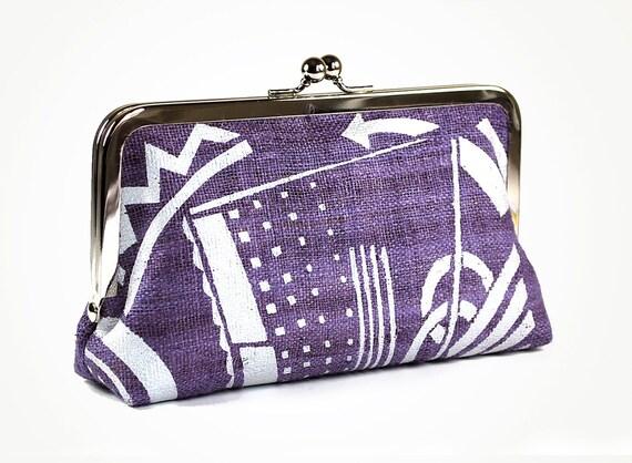 Purple hemp clutch purse with art deco design