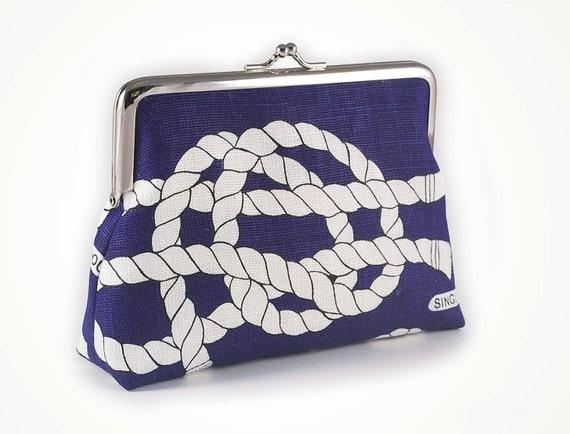 Blue linen clutch with sailors knots