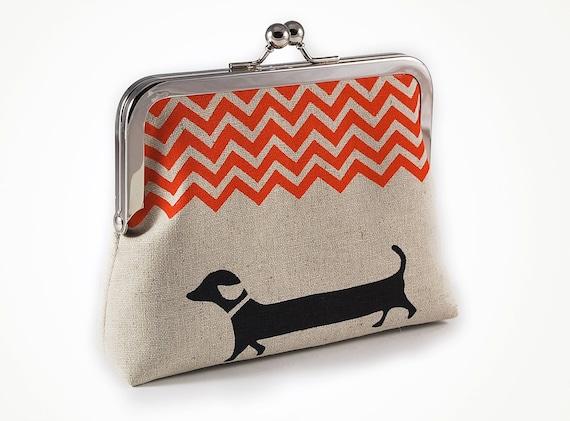 Dachshund purse with orange chevron