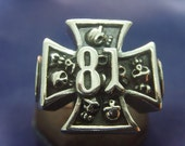 81 skull Iron Cross nomads SUPPORT large heavy LARGE silver ring MOTORCYCLE blood