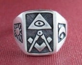 ALL SEEING EYE masonic  freimaurer signet  sun moon silver ring 925 all size available