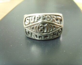 Outlaw Nomads Support Large Heavy Silver Ring Motorcycle Blood