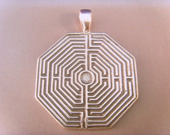 Greek LABYRINTH Maze Necklace solid sterling silver 925