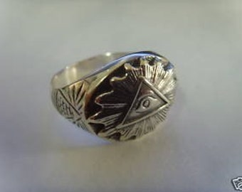 ALL SEEING EYE masonic freimaurer signet silver ring all size available