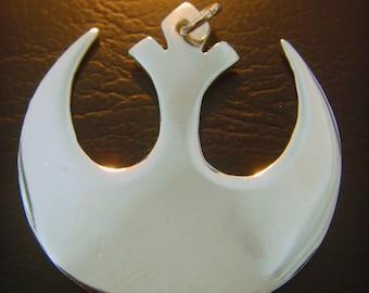 Handmade Star Wars Insignia on wood Rebel  pendant sterling silver 925