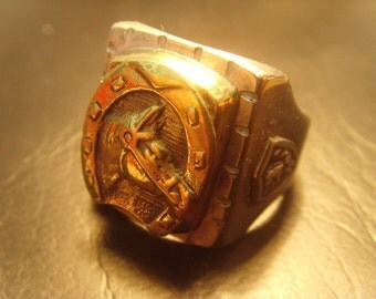 Vintage Biker Skull Ring MEXICO HORSE SHOE Sterling Silver 925