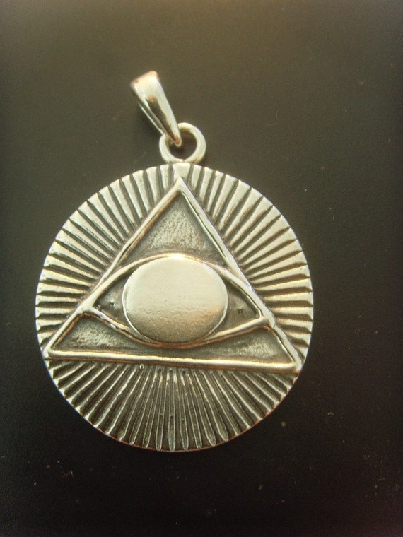 All SEEING Eye PYRAMID masonic symbols pendant soilid sterling silver 925