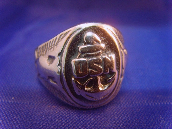 vintage wwii usa us navy sterling silver ring