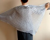 Soft Grey Hand Crochet Triangle Shawl, Holidays Valentines Gift under 100 Gift for her mom