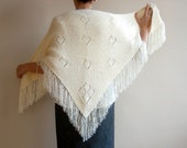 Knit Wedding Shawl Women Shrugs Bridal Cape Capelet Cowl in Cream Ivory