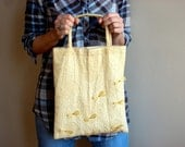 Crinkle Cotton Pale Yellow Tote Bag