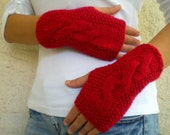 Red Cable Knitted Fingerless Gloves Mitten