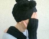 Hand Knit Hat Gloves Set, Black Neckwarmer Cowl with Pom Pom, Cable Knit