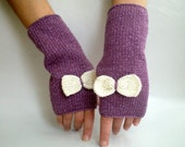 Sparkling Lilac Hand Knit Gloves Mitten with bows, Holidays Christmas Xmas Gift for her  Gift under 25