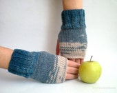 Degrade Teal Wool Blend Mitten, Fingerless Gloves Hand Knit, Holidays Valentines Gift for her mom Gift under 25