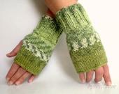 Blended Moss Green Fingerless Gloves, Winter Accessories