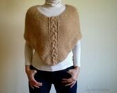 Brown Bolero Scarf Cape, Cable Knit Poncho, Womens Poncho, Winter Accessories, Fall Winter Fashion