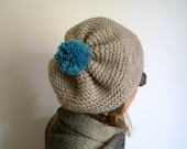 Alpaca Slouchy Hat with Pompom  Chunky Knit Beret in Stones Colors and Teal