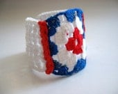 Nautical Crochet Cuff, Wrist band-  AOD, Blue red white - bysweetmom