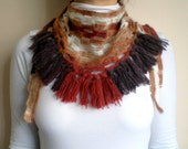 Boho Fringed Scarf, Brown Brick Color Blended Cowl, Scarflette, Crochet Neckwarmer,  Fall Winter Fashion